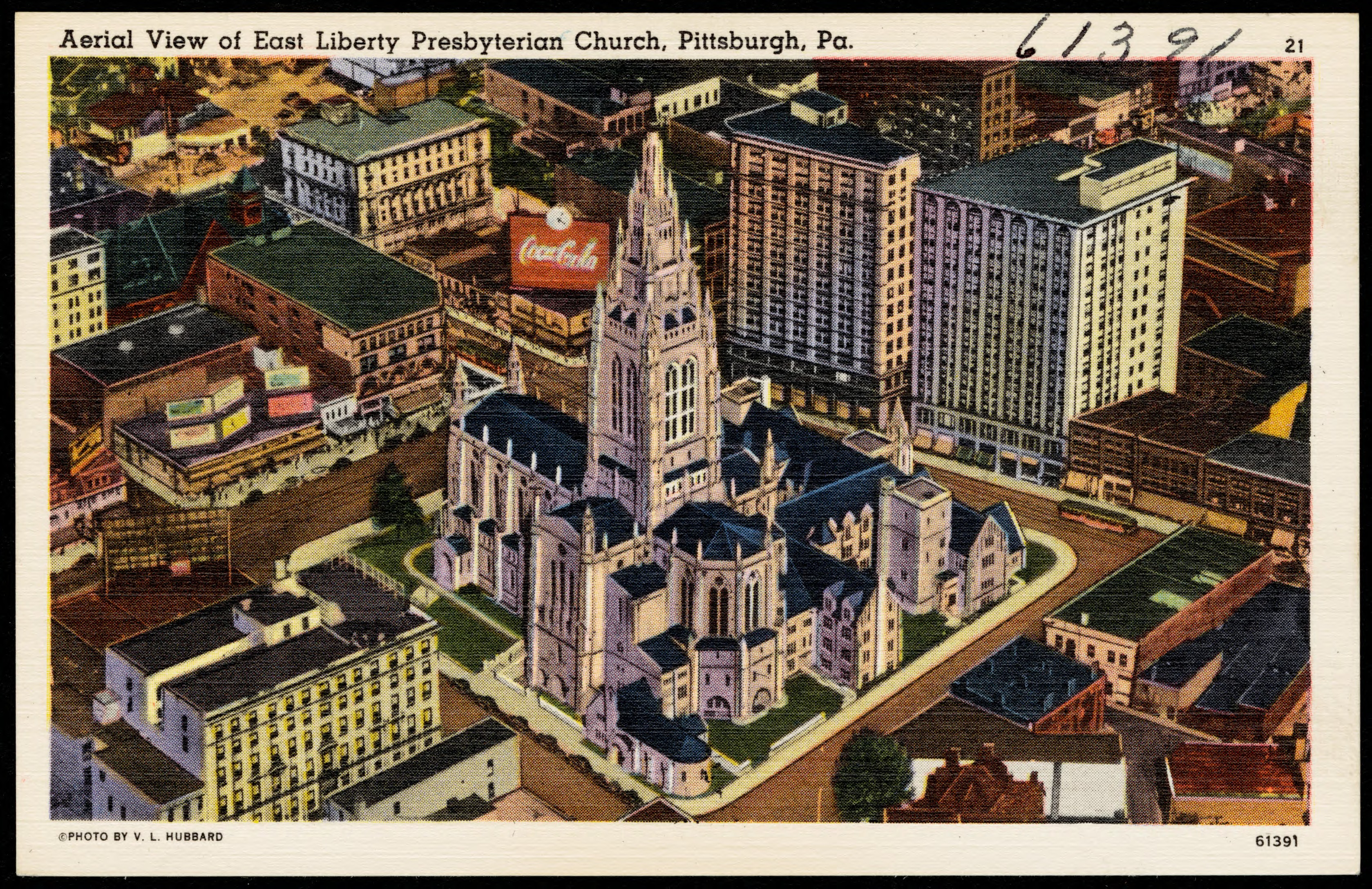 In this Tichnor Brothers linen card's aerial illustration, the former East Liberty YMCA, today the Ace Hotel, is located on the bottom left.